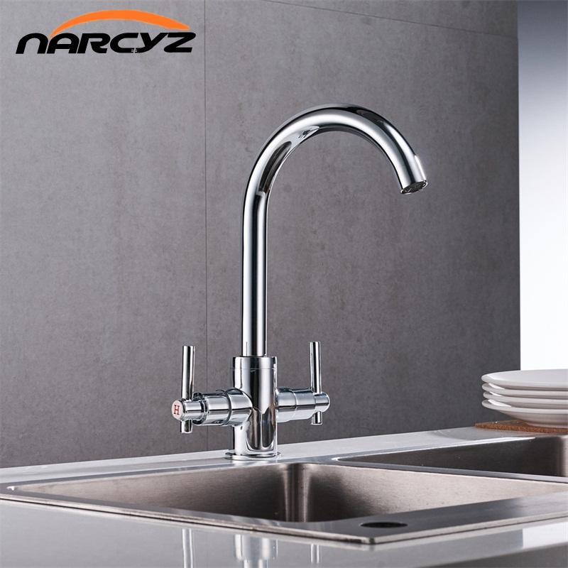 Bathroom And Kitchen Faucets | 2019 Chrome Color Kitchen Faucets Double Hands Round Bathroom Sinks