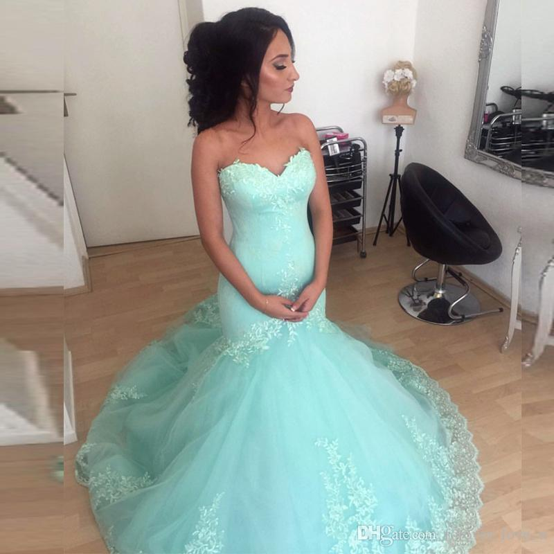 574c0653bfd7 2018 New Arrival Mint Green Prom Dresses Fit And Flare Sweetheart Sleeveless  Lace Appliques Mermaid Evening Gowns Formal Dress Prom Dresse 2015 Prom  Dresses ...