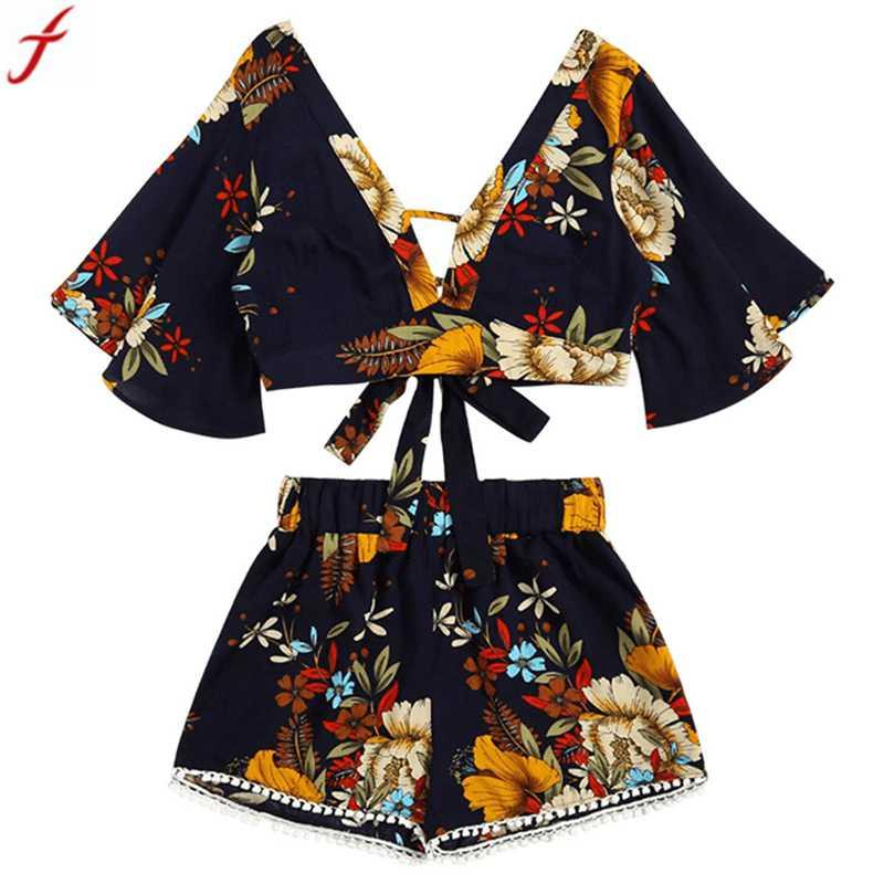 72cc9fcae8 2018 New Arrival Summer 2 Two Piece Set Women Floral Printed V Collar Top  Shorts Suits Beachwear Clothing Conjunto Feminino Online with  39.01 Piece  on ...