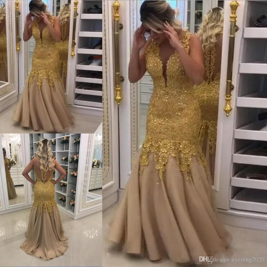 4569dbde5a2f6 Plus Size Mermaid Prom Dresses V Neck Art Deco Inspired Neck Sleeveless  Tulle Sexy Back Gold Applique Evening Gowns White Prom Dress Formal Dresses  For ...