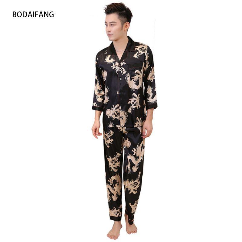 11078765051c1e Herbst-Männer Silk Satin Dragon Muster Pyjama Set Männer Pyjamas Silk  Nachtwäsche Männer modernen Stil weichen gemütlichen Satin Nachthemd NEU