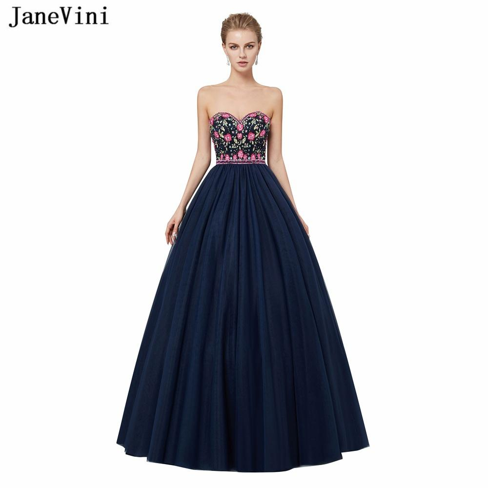 Wholesale Vintage Navy Blue Ball Gown Long Bridesmaid Dresses With ...