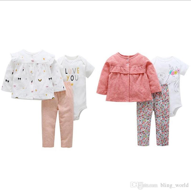 24c194bd98fa 2019 Ins Baby Girls Clothing Sets Letter Flower Printed Romper ...