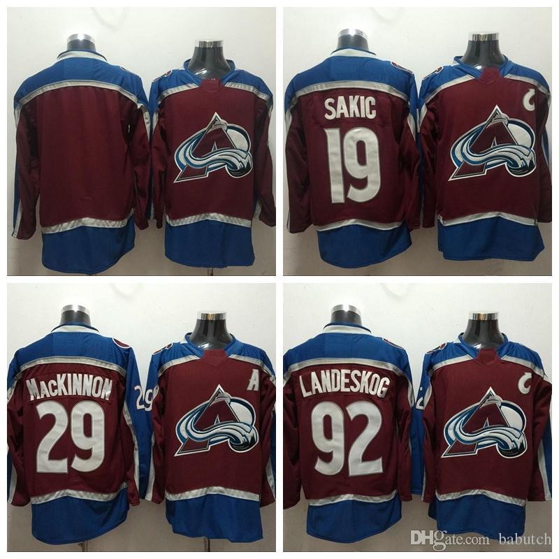 Cheap Ado Avalanche Hockey Jersey 19 Joe Sakic 29 Nathan MacKinnon 92  Gabriel Landeskog New Burgundy Stitched Jersey C Patch ee0860174