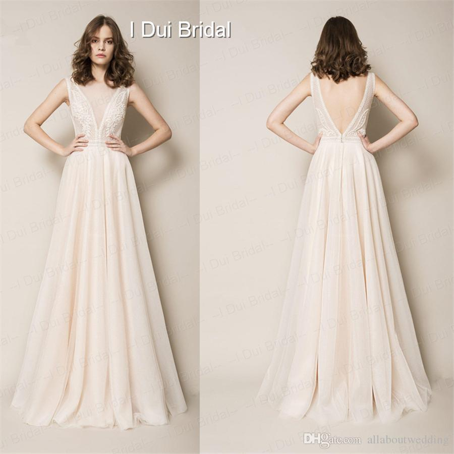 discount a line deep neckline simple elegant wedding dress light peach bridal gown high quality factory custom made a line lace wedding dresses a line