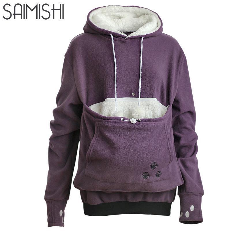 e0b0c1d4d72 Compre Saimishi Púrpura Bordado Bolsillo Grande Jerseys Mujeres Sudadera  Otoño Invierno Cálido Moda Con Amantes De Gatos Perro Mascota Hoodies  L18100702 A ...