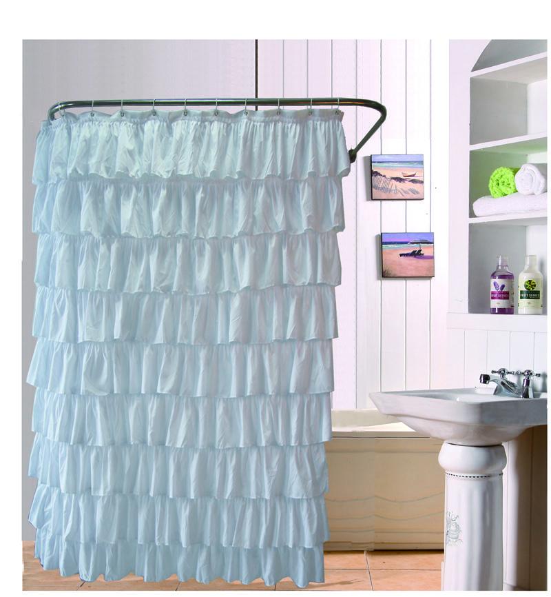 2018 180*180cm Ruffles Shower Curtain Polyester Waterproof Bathroom ...