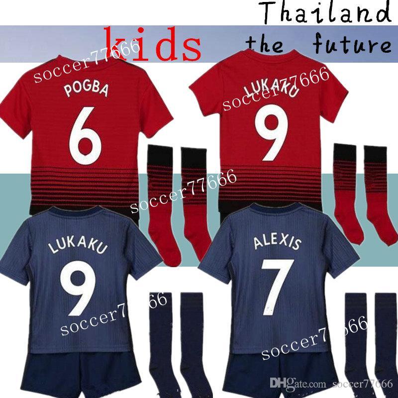 9ac829e99 Kids 18 19 Man Soccer Jerseys 2018 2019 LUKAKU POGBA UTD MATIC MARTIAL  Children Football Shirt MATA ALEXIS Camiseta MATIC RASHFORD Maillot Kids  Soccer ...