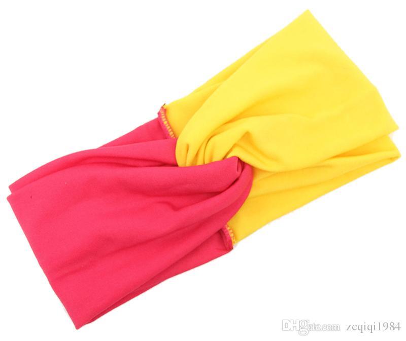 أعلى جودة المرقعة العمامة رباطات للنساء تويست تمتد hairbands الرياضة عقال اليوغا حك رئيس الفرقة باندانا بنات الشعر التبعي