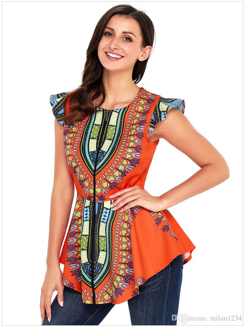 Mulheres Africano Impresso Slim Fit Assimétrica Hem Cap Manga Zipper Encerramento Dashiki Camisa Blusa Top