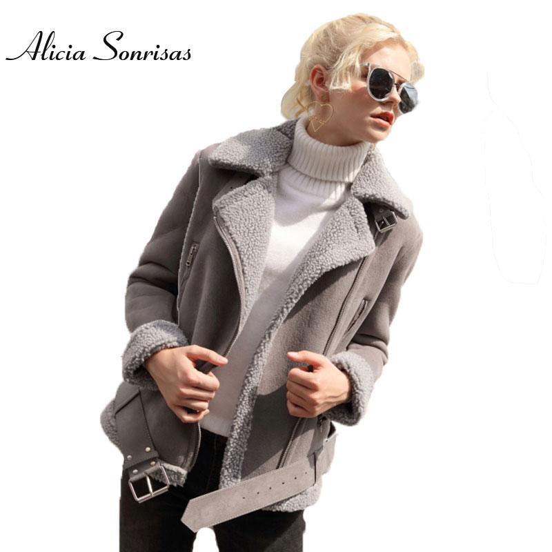 Hiver Faux Manteau En Peau de Mouton Femmes Court Moto Veste
