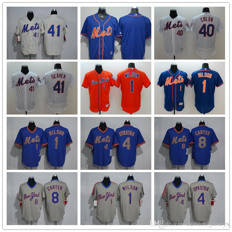 huge selection of a3905 a6b21 Men Women Youth NY Mets Jersey #1 Mookie Wilson 4 Dykstra 8 Gary Carter 40  Bartolo Colon 41 Tom Seaver Baseball Jerseys