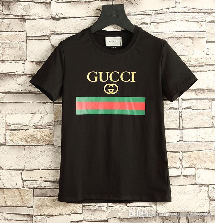 1f663ee15f1 2018 Summer 18ss Designer Luxury Brand Tag Snake Print Clothing Men Fabric  Letter Polo G T Shirt Collar Casual Women Tshirt Tee Shirt Tops 9 One T  Shirt A ...