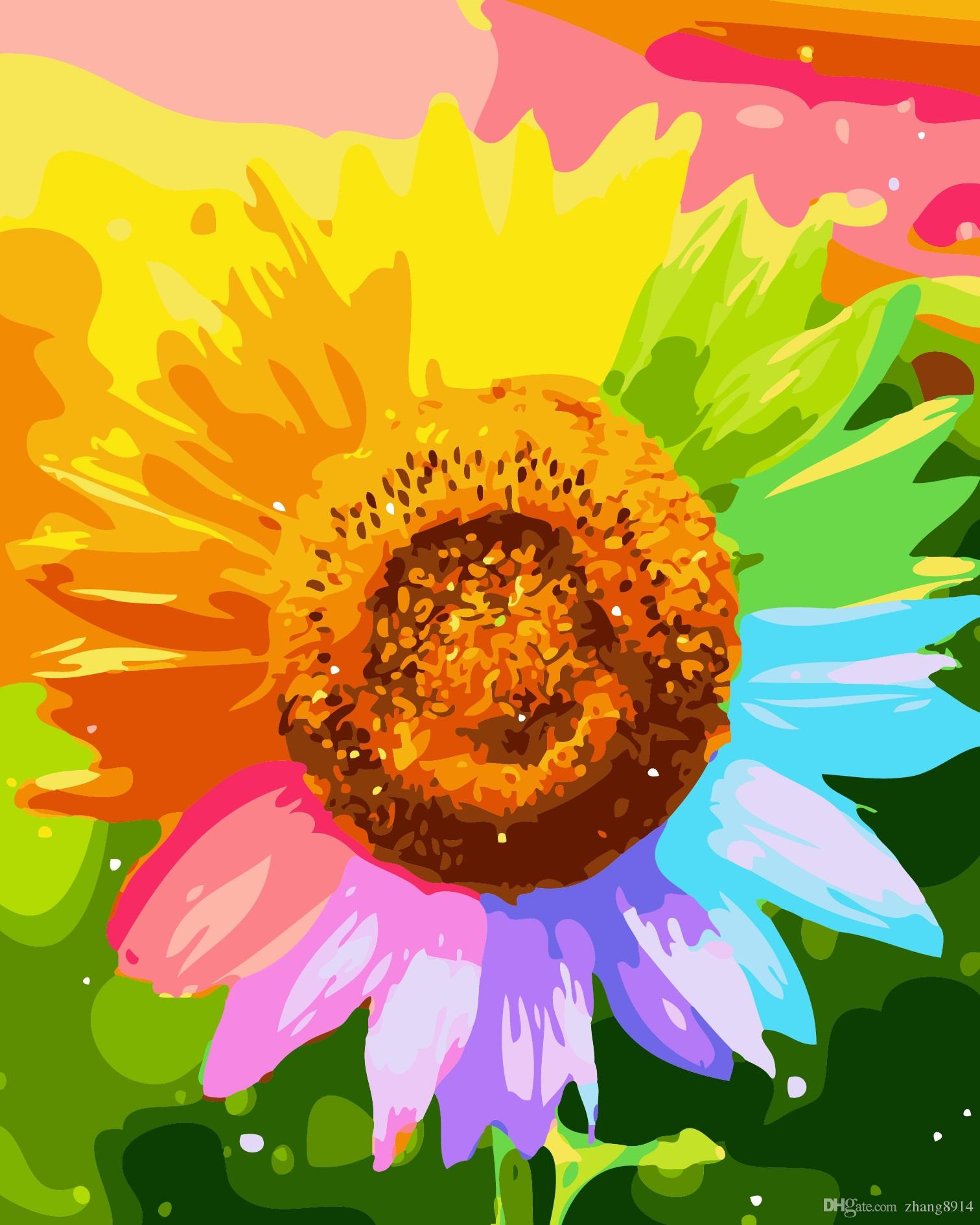 """16X20/"""" DIY Acrylic Paint By Number Painting Canvas Beauty Sunflowers Butterfly"""