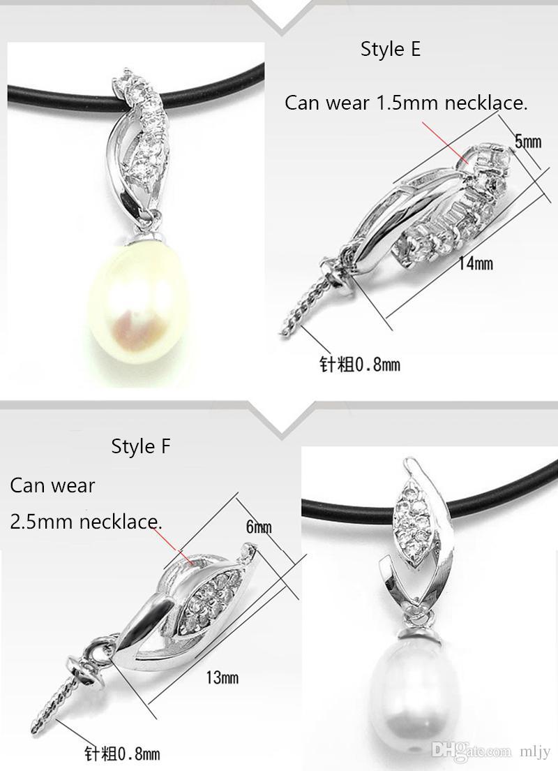 Conjuntos de colar de pérolas 100% S925 Sliver Pingente de Configurações 12 Estilos DIY Pérola Colar de Jóias Configurações Sem cadeia de Presente de Natal