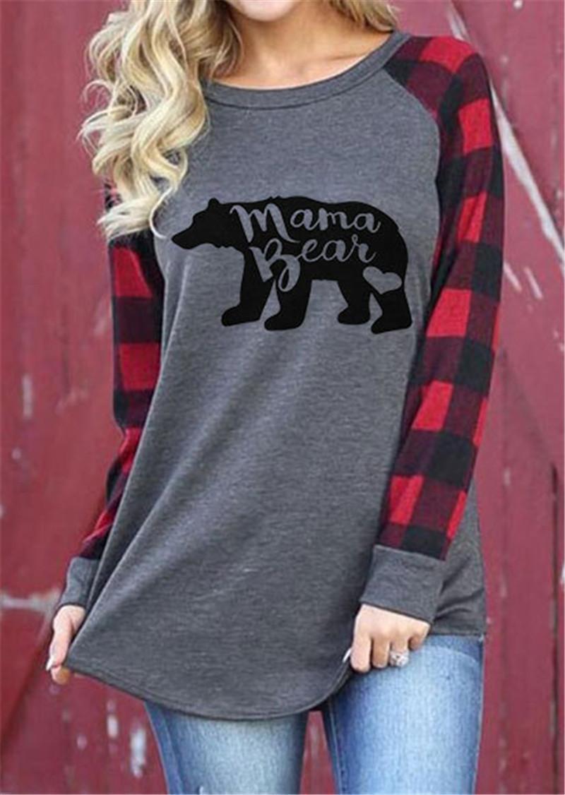 Cou Manches Blouse Shirt Femmes Patchwork Tops Mama À Longues Bear Carreaux T Lettre Imprimé Automne Sweatshirts Vêtements Pull O Sweat H2EIYWD9