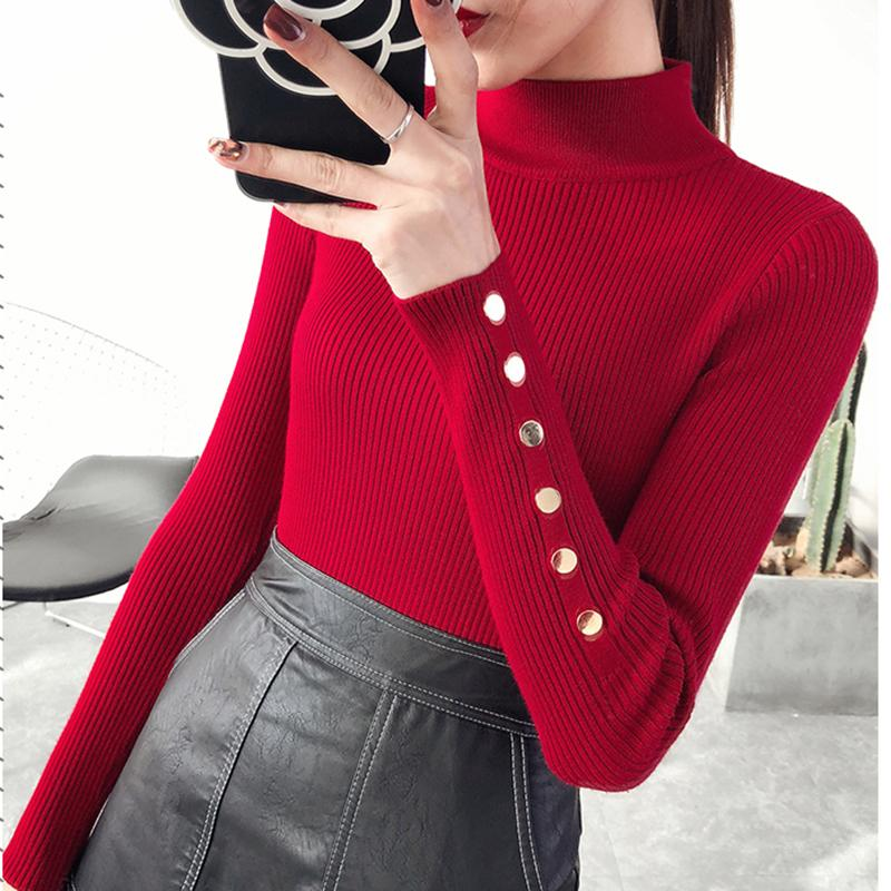 4c2640139822 2019 2018 New Autumn Winter Women Knitted Sweater Pullovers Turtleneck Long  Sleeve Solid Color Slim Elastic Sweater Mujer YM797 S1031 From Ruiqi02