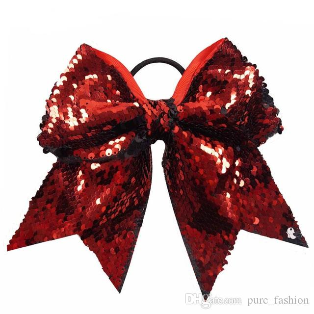 /7'' Large Fashion Sequins Cheer Bow With High Quality Elastic Band Hair Bow For Cheerleaders Hair Accessories
