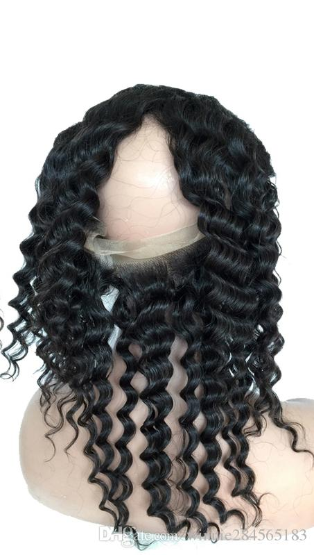 capelli remy brasiliani frontal 360 pizzo vergine peruviana umana con cinghie elastiche profonda onda naturale colore nero con pezzi dei capelli del bambino