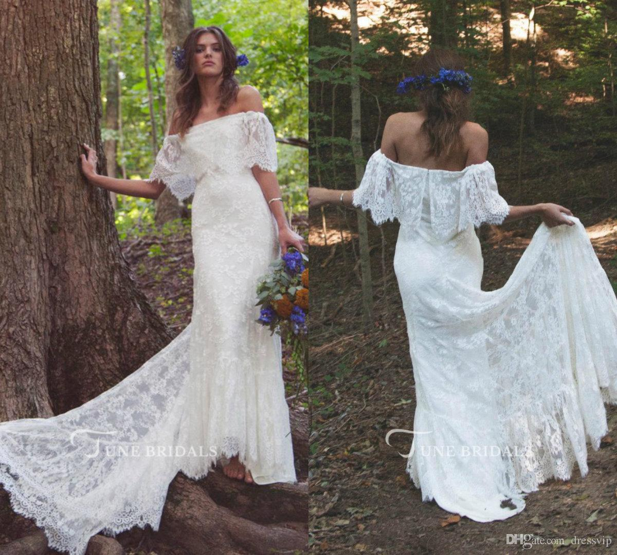 Cheap 2018 Simple Bohemian Beach Wedding Dresses Off Shoulder Sweep Train Lace Country Summer Western Bridal Gowns Wedding Dresses