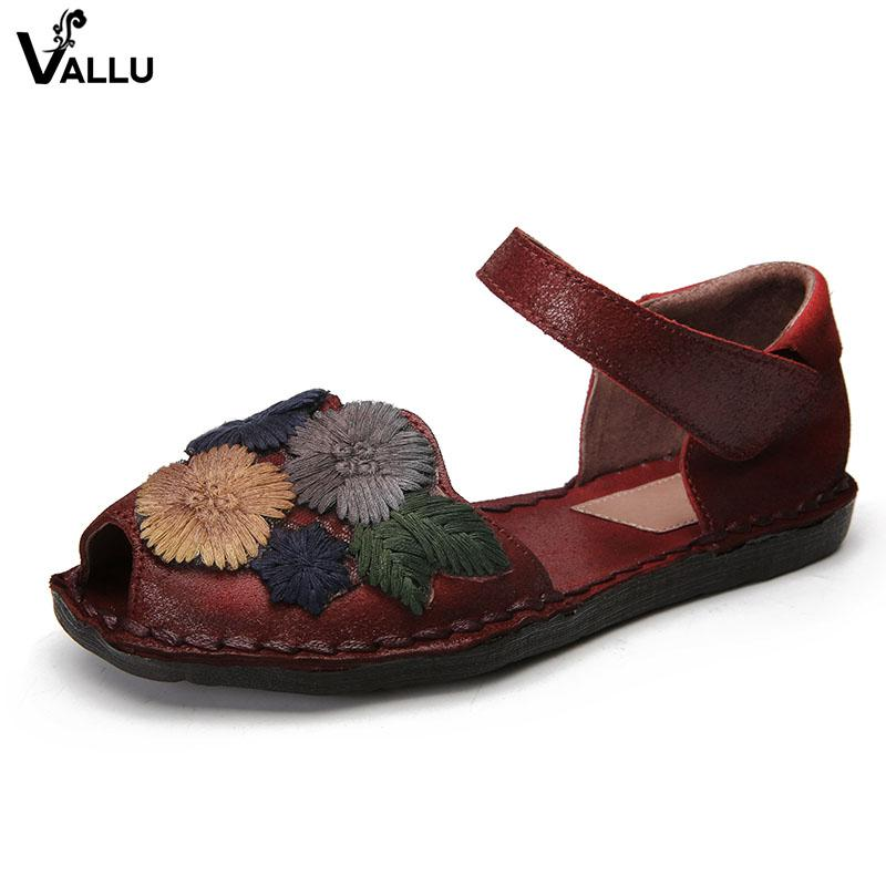 fa3a2ee4d Wholesale Summer Shoes Women Sandals Genuine Leather Handmade Embroider  Flowers Peep Toes Ankle Strap Women'S Flat Sandals Red Shoes Wedge Sandals  From ...