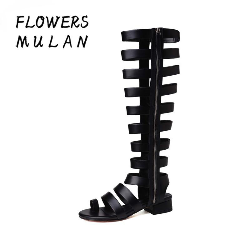 6800ebf3c66601 2018 Summer New Women Sandals Rome Narrow Band Fretwork Boots Sandal ...
