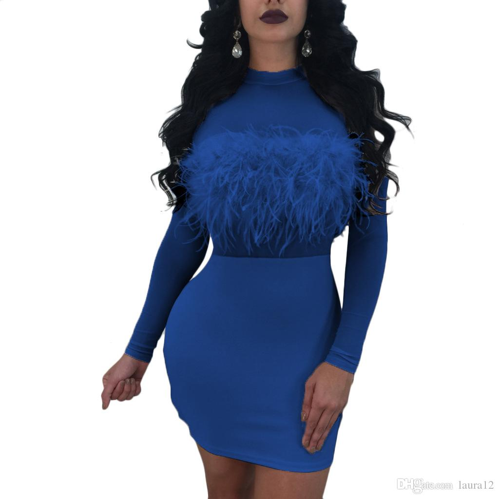 2018 Fashion Feather Design Women Party Dresses Sexy High Neck See Through Tulle Long Sleeves Short Bandage Dress Real Image S--2XL