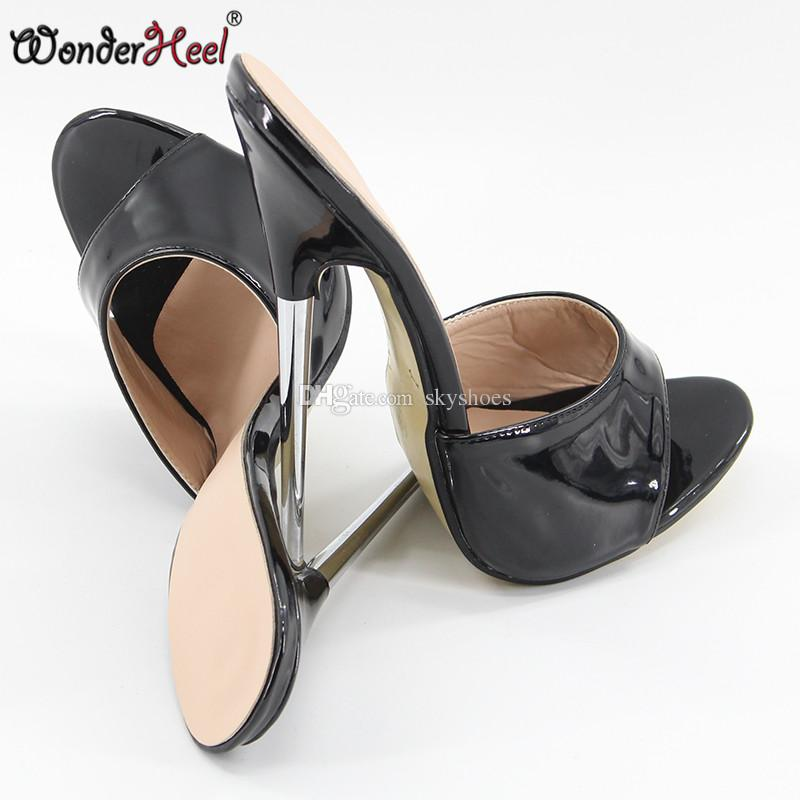 30cb7e448c4 Wonderheel summer Extreme high heel 18cm/7 heel BLACK Sexy fetish slip on  stiletto metal heel fashion women sandals