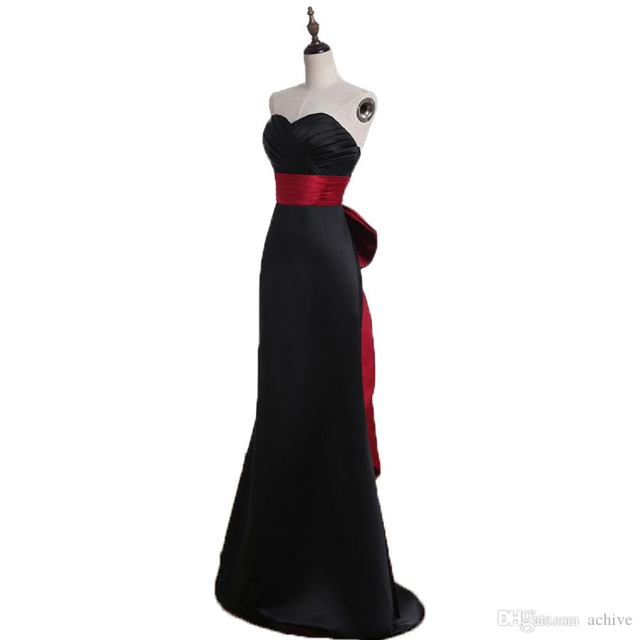 Simple Black Mermaid Bridesmaid Dresses 2020 Ruched Sash Bow Long Maid Of Honor Dress Satin China Formal Gowns Wedding Party Dresses