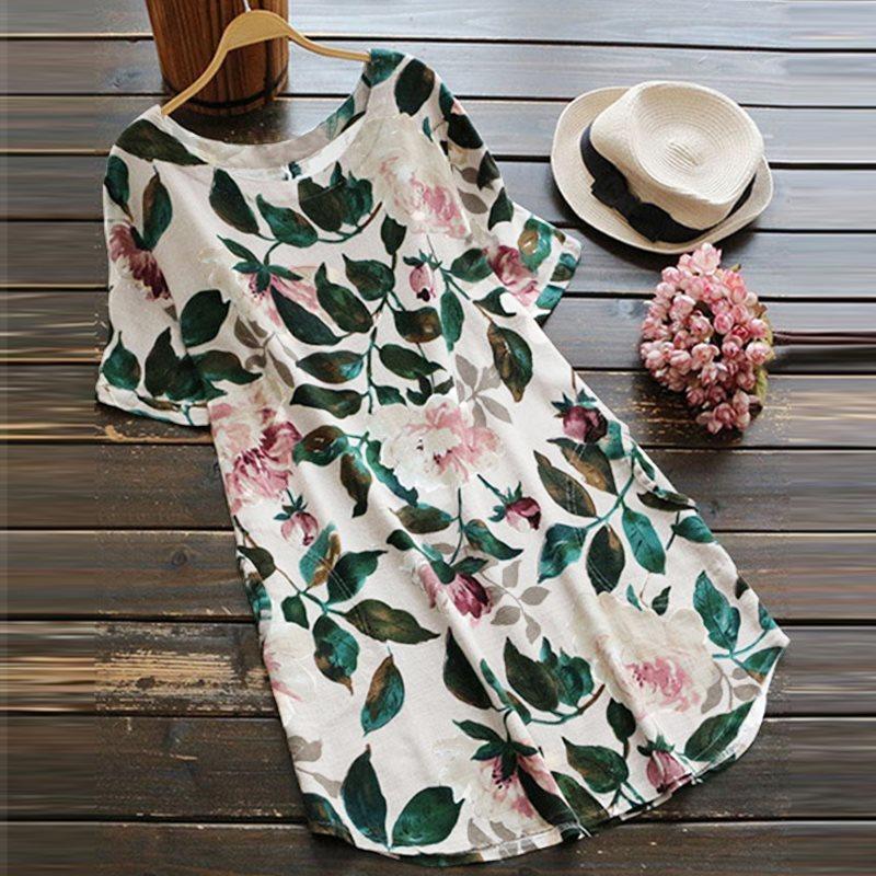 afa1e7258d45c Plus Size ZANZEA Women Elegant O Neck Short Sleeve Summer Floral Printed  Cotton Linen Casual Work Mini Dress Boho Beach VestidoY1882302