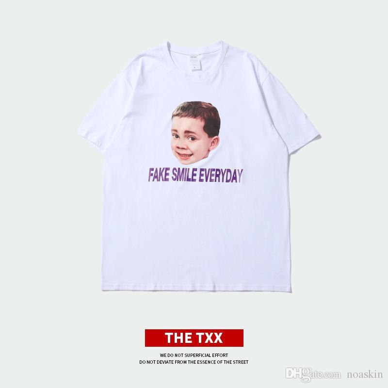 Compre Impresión Digital Fake Boy Impresión Personalidad Creativa Manga  Corta Cuello Redondo Camisetas De Los Hombres Diseño Moda Desgaste De Los  Hombres ... c8be22917e309