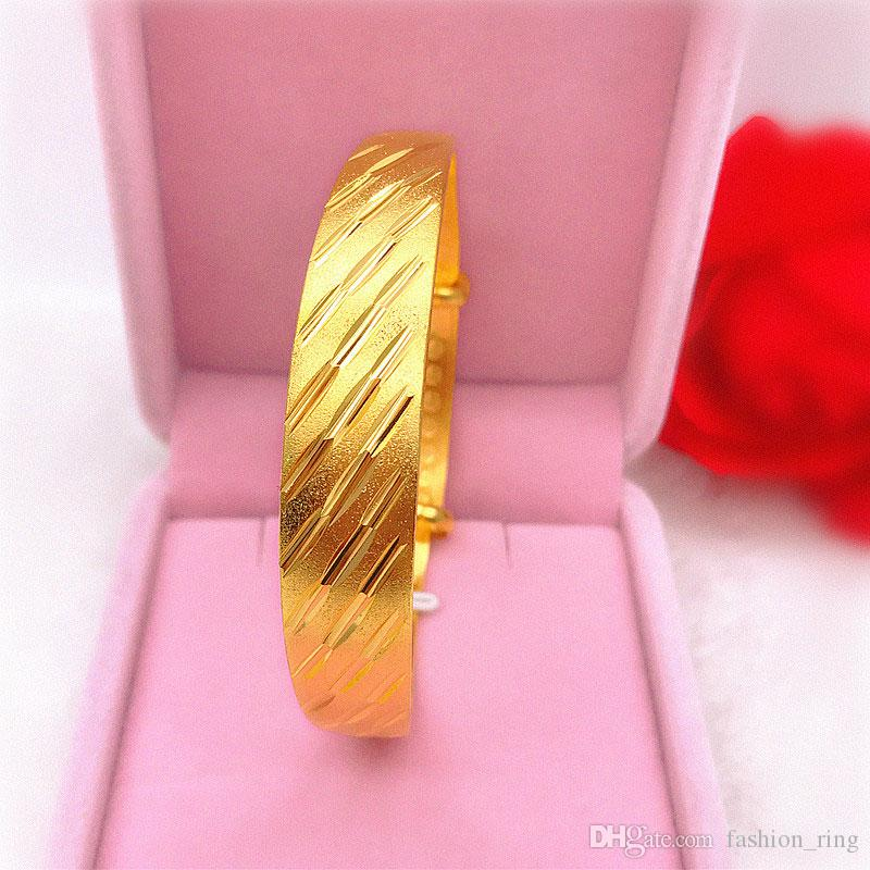18 كيلو الذهب الحقيقي مطلي لون الذهب سوار الوجه عرض 12 ملليمتر style1-9 زهرة حك الإسورة للنساء المجوهرات بالجملة