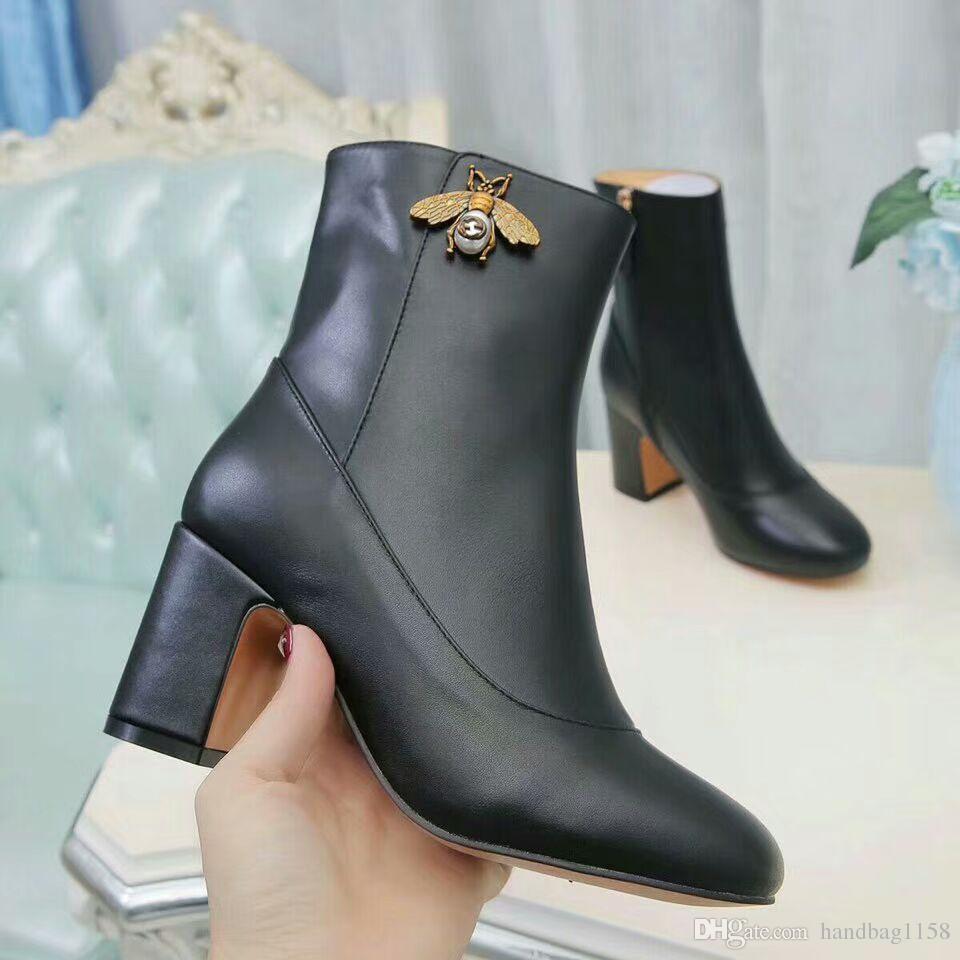 f53e2a10 Nuevas mujeres Tacones gruesos tacones altos Half Boots Rojo vino Beige  Negro Moda T Show Casual botas de fiesta Botines de cuero