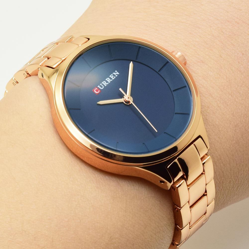 3dfc0920841e Compre CURREN Reloj De Oro Rosa Relojes De Mujer Relojes De Acero  Inoxidable Para Mujer Relojes 2018 De Lujo De Color Oro Moda Relogio  Feminino Y18102310 A ...