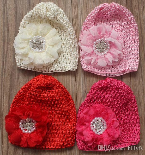 Elastic Crochet Hat With 35 Chiffon Lace Fabric Flower For Girls