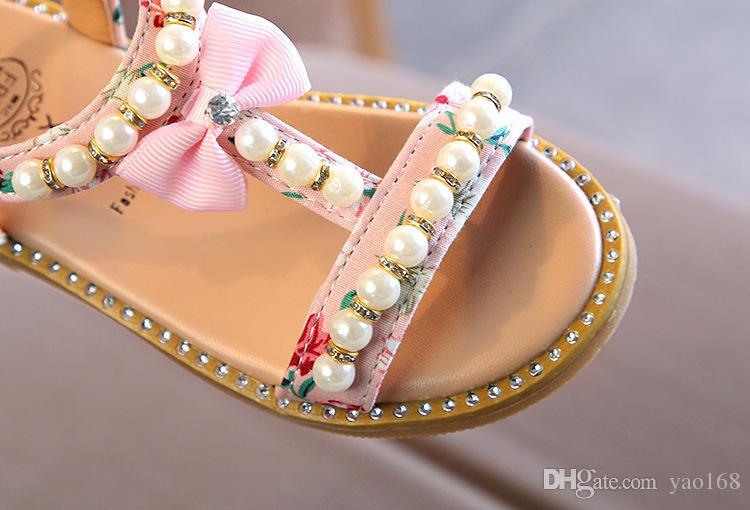Niedriger Preis Großhandel 2018 Neue Kinder Baby Jugendliche Grils Schule Sandalen Bare Toes Schuhe Sommer Prinzessin Perle Flache Strandschuhe