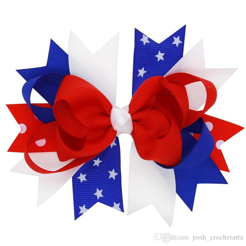 4th Of July Hair Bows American Flag Cheer Bows for Independence Day Parade Hair Accessories Baby Fourth of July Hairbow Patriotic