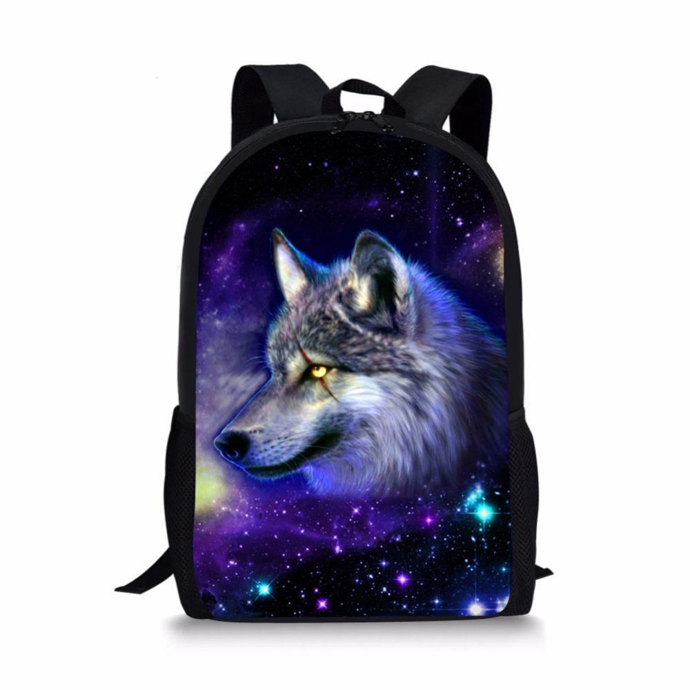 3D Cool Wolf Lion Bear Animals Print Backpack School Bag Orthopedic ... dcb0eddb1d
