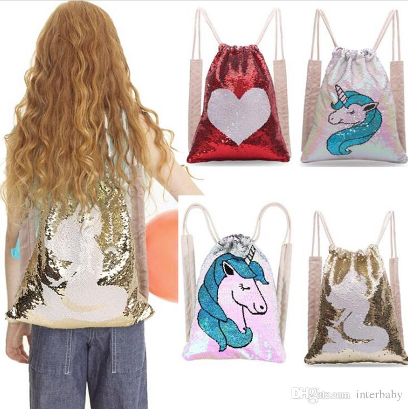 18ca1ff00fc6 Unicorn Sequins Drawstring Bags Mermaid Sequin Backpacks Reversible  Paillette Outdoor Backpack Glitter Travel Pouch Storage Bag YL721
