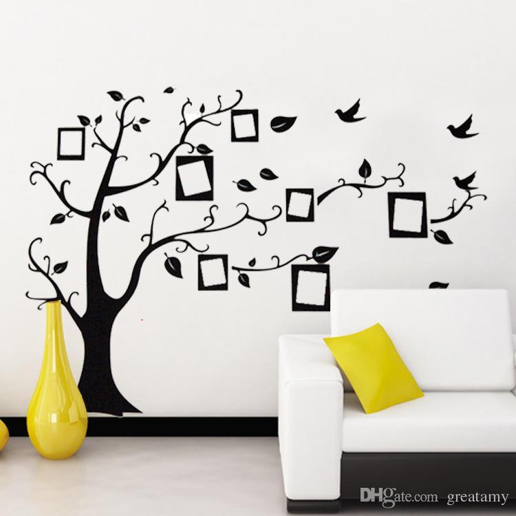 Yeni Ücretsiz Kargo: Büyük 50 * 70 Cm / 70 * 120in Siyah 3D DIY Fotoğraf Ağacı PVC Duvar Çıkartmaları / Yapıştırıcı Aile Duvar Çıkartmaları Mural Art Ev ...
