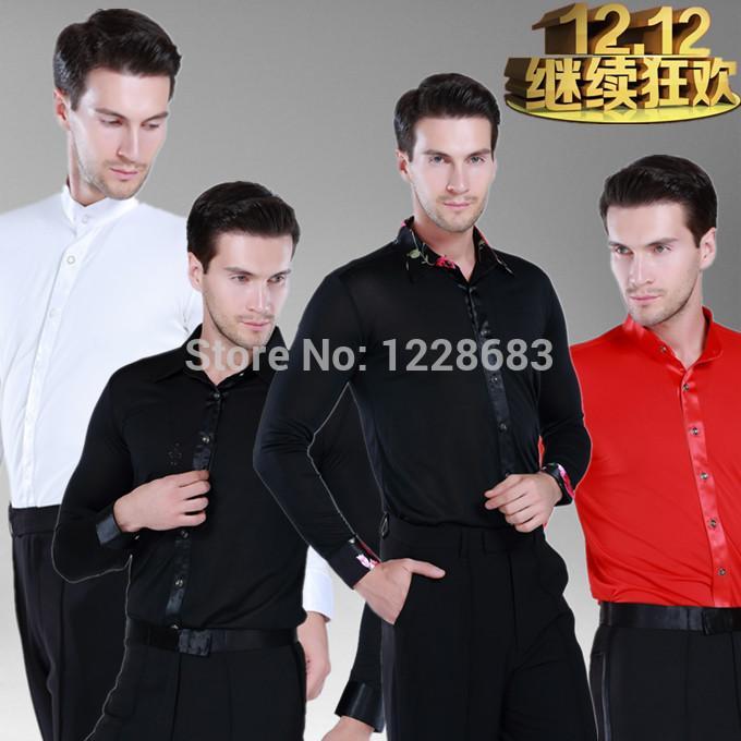 6de1b32df Mens Latin Dance Shirt Black White Red Boy Men's Ballroom Shirts Modern  Rumba Cha Cha Samba Tango Salsa Dance Shirt