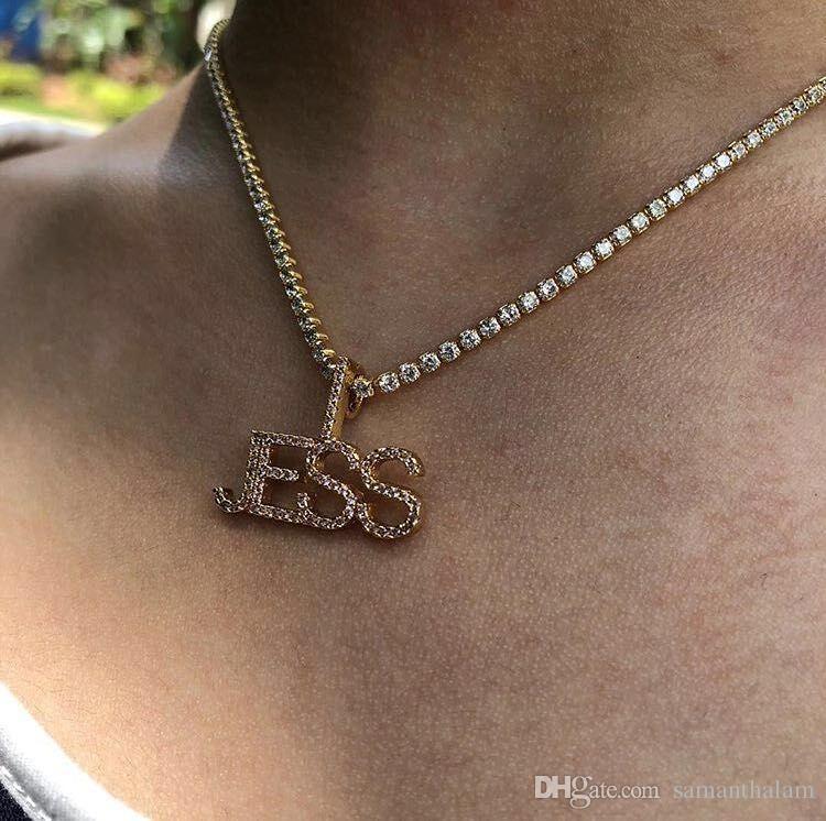 f016a25bdbab4 wholesale fashion custom 18k gold jewelry mini tennis chain 1.9mm gold  color hip hop iced diamond necklace jewelry