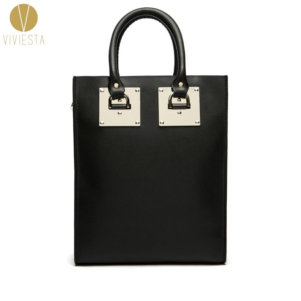 GENUINE LEATHER METAL PLATE LARGE STRUCTURED TOTE BAG Women S 2018 Fashion  Famous Brand Luggage Shopping Shoulder Bag Handbag S921 Reusable Shopping  Bags ... 384b93909712f