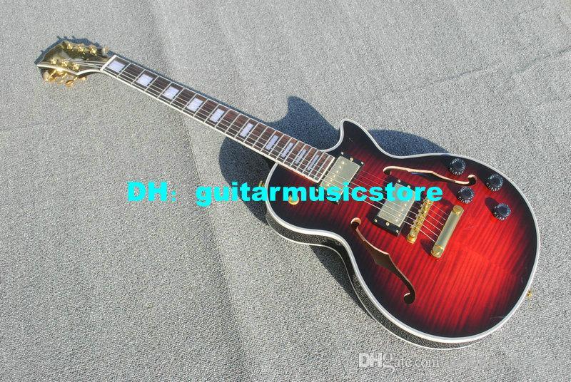 Nova fábrica de guitarra black cherry corpo oco Guitarra Elétrica atacado guitarras da china Frete grátis