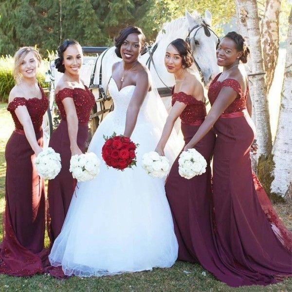 Gelin Mermaid Sevgiliye Kapalı Omuz Boncuklu Bordo Nedime Elbisesi Aplikler Ile Afrika Gelinlik Modelleri Sheer Tren