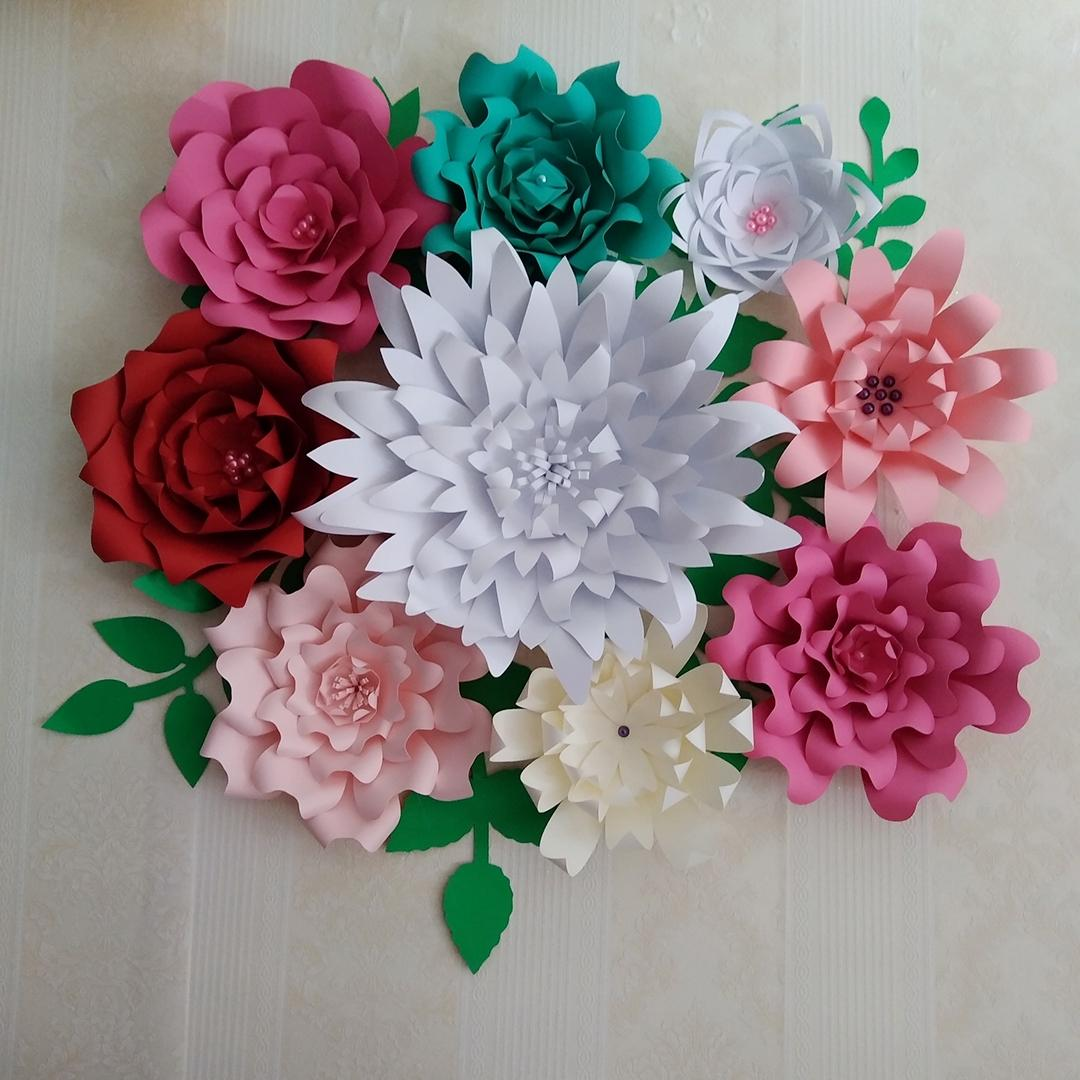 Diy Half Made With Tutorials Giant Paper Flowers 9pcs Leaves 8pcs Wedding Backdrop Baby Nursery Baby Shower Bridal Shower