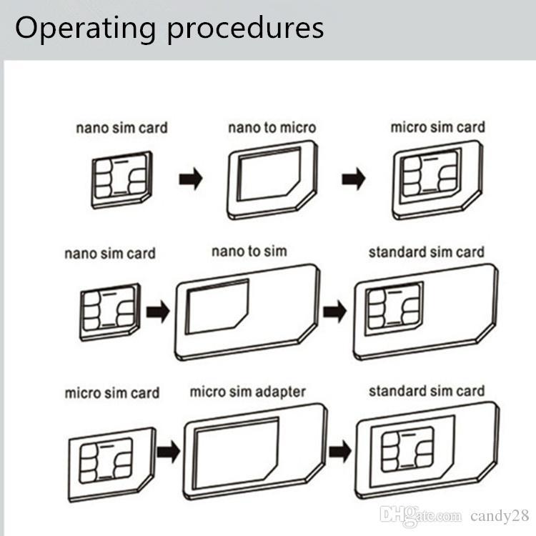 NOOSY 4in1 Nano Sim Convertidor de tarjeta de teléfono Adaptador Micro SIM Adaptador de tarjeta SIM Pin para Iphone 6 Plus Todos los dispositivos móviles