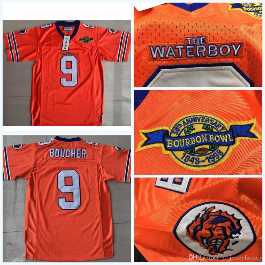 9 Bobby Boucher Men s Adam Sandler Bobby Boucher MOVIE The Waterboy Mud  Dogs Football Jersey with Bourbon Bowl Patch Orange Fast Shipping Bobby  Boucher ... 3c376436a463