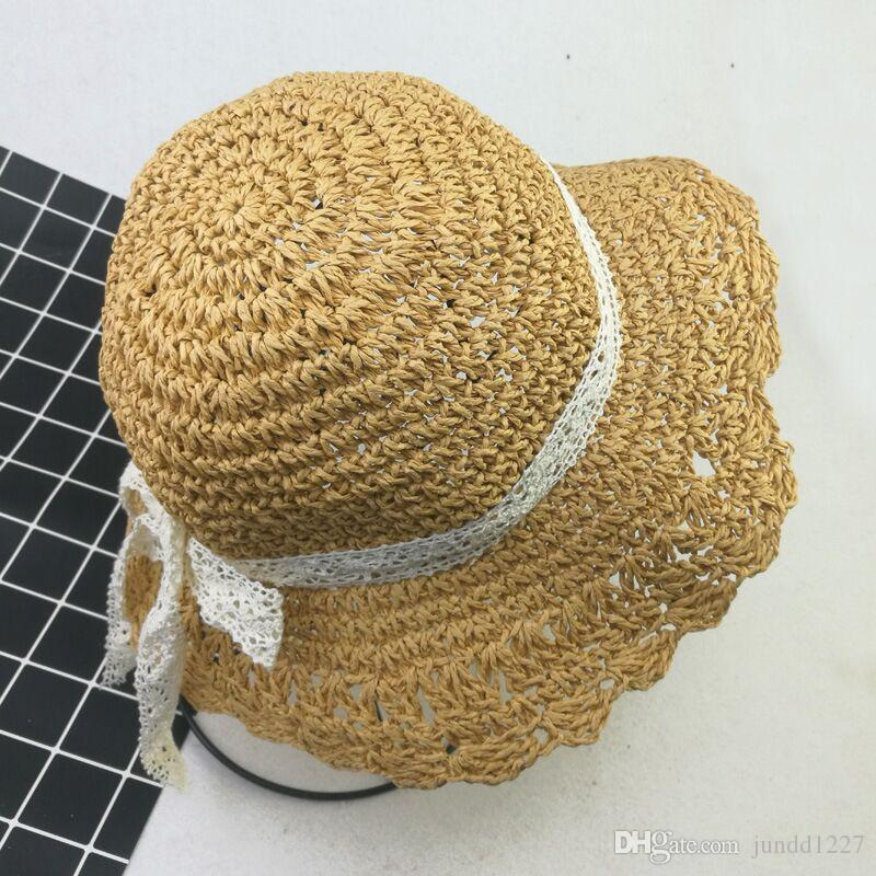 8ca308420d1bd 2018 Brand New And Fashion South Korean Children S Lace Straw Hat Girls  Hook Sunshade Girls Beach Hatsnhat Winter Hats For Women Beach Hats From  Jundd1227