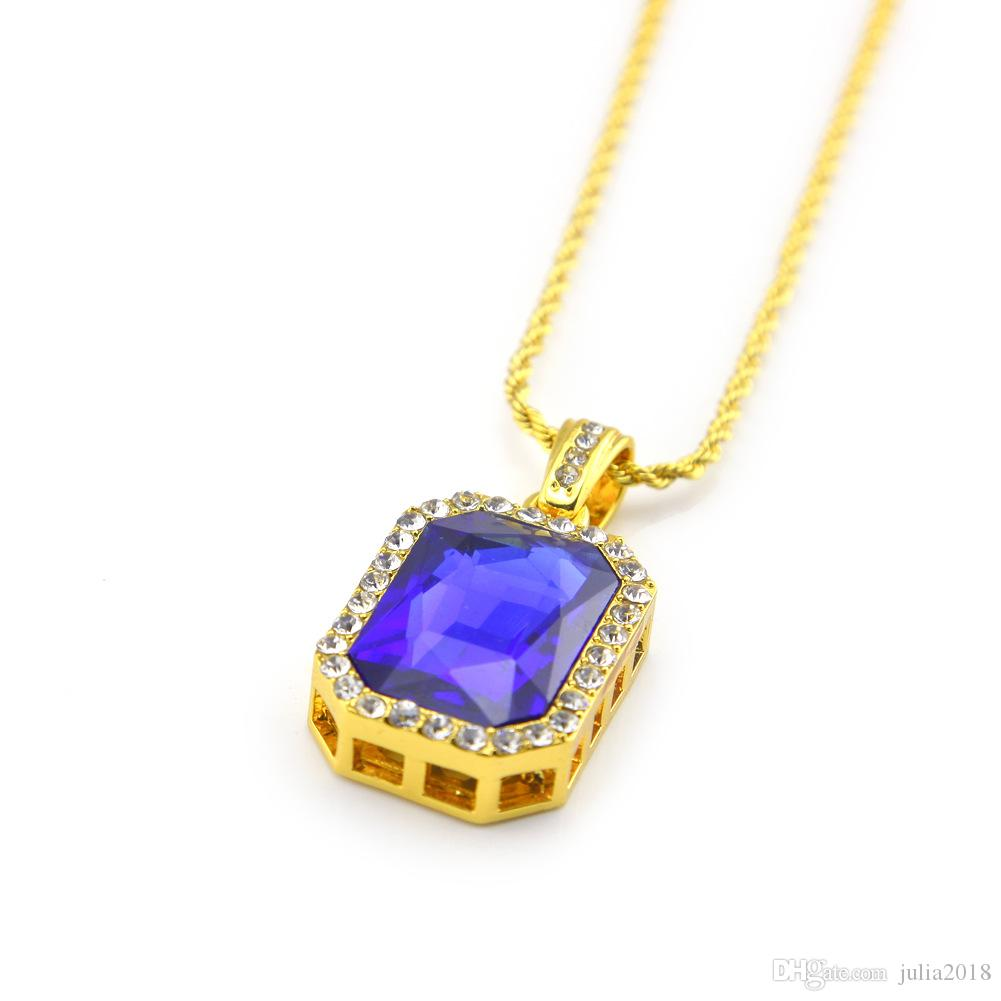 """Men Iced Out Pendant Chain Hip Hop Rappers Micro Octagon Square Rhinestone Color Stone Pendant With 3mm 24"""" Rope Chain"""